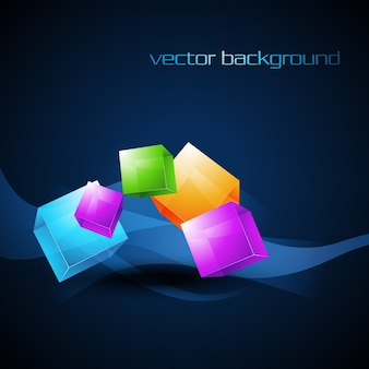 Dark blue background design with colorful cubes