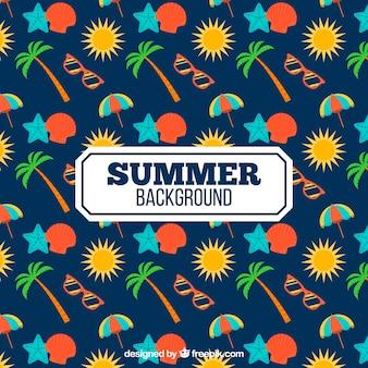 色の夏のオブジェクトを持つ暗い青色の背景