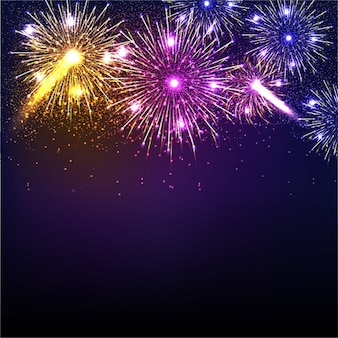 Dark blue background with colorful fireworks