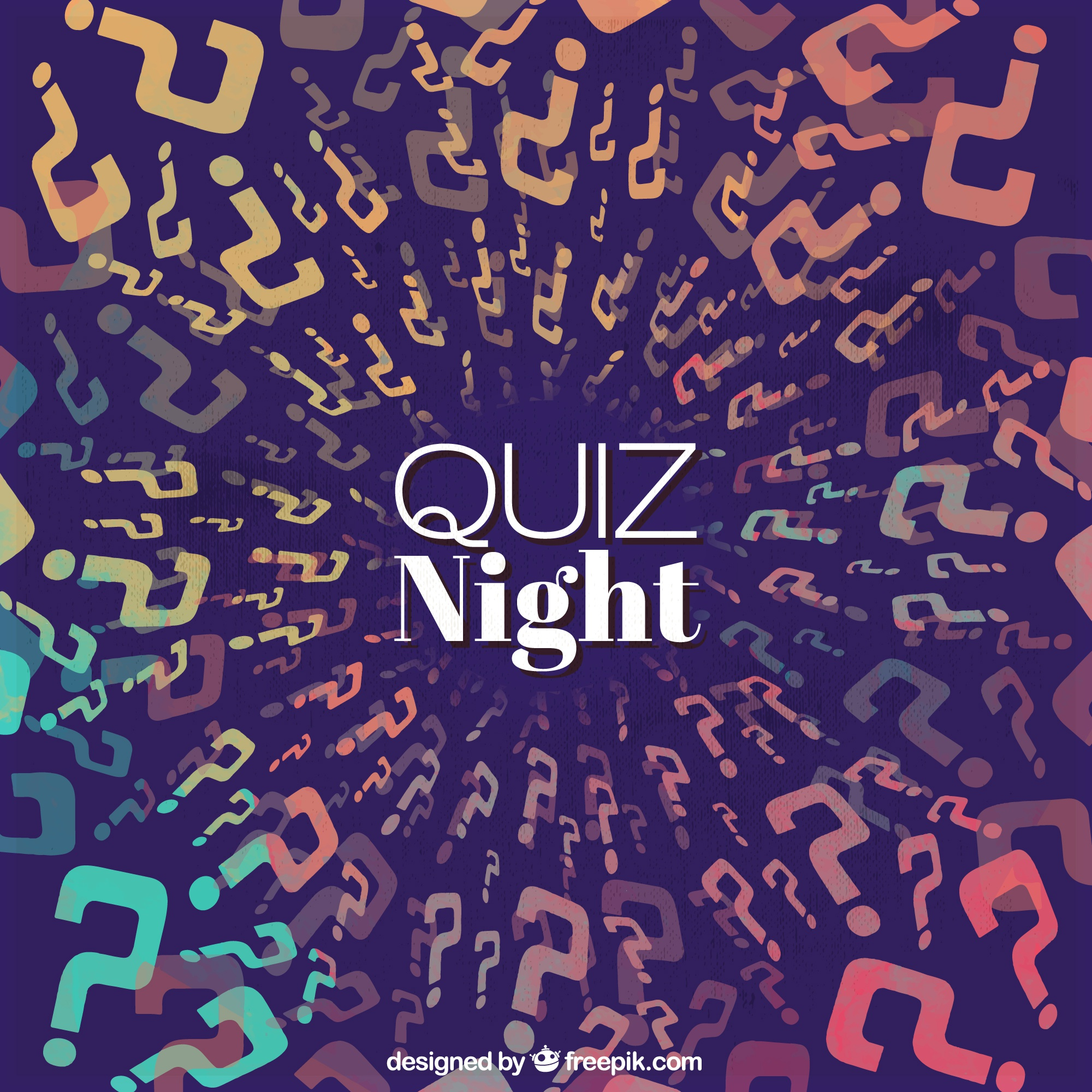Dark blue background with colorful question marks