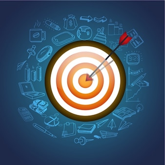 Dark blue background with dartboard and business icons