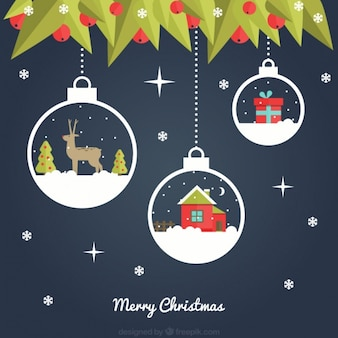 Dark blue background with decorative christmas balls hanging