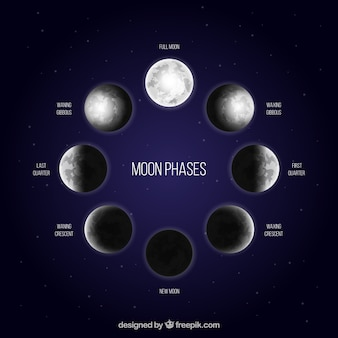 Dark blue background with moon phases in realistic design