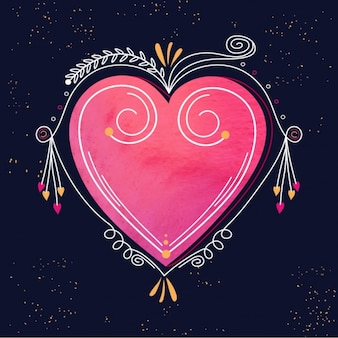 Dark blue background with ornamental heart for valentine's day