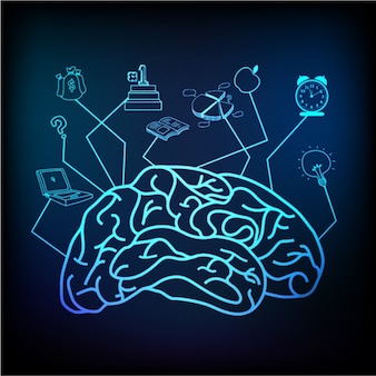 Dark blue background with shiny human brain and business objects