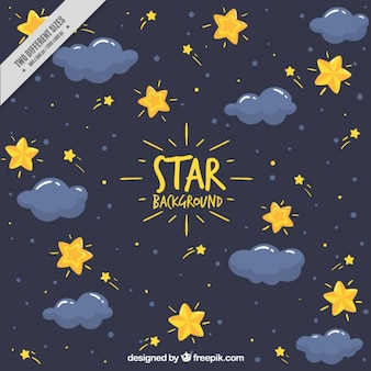 Dark blue background with stars and clouds