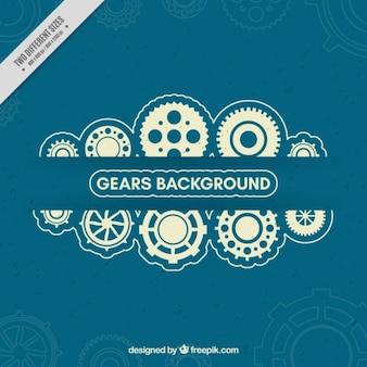 Dark blue background with white gears