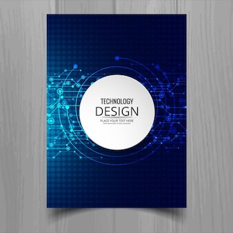 Dark blue brochure, technological style