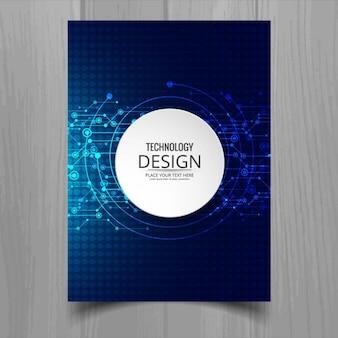 Dark blue brochure, technological style