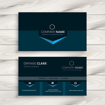 Dark blue business card in modern style