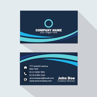 Dark blue business card