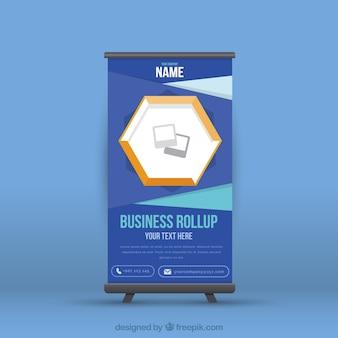 ダークブルーのビジネスロールアップ幾何学的な図形