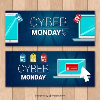 Dark blue cyber monday banners