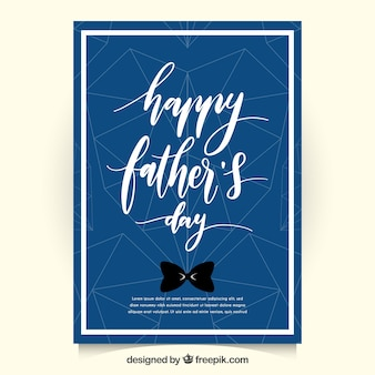 Dark blue father's day card with geometric hearts