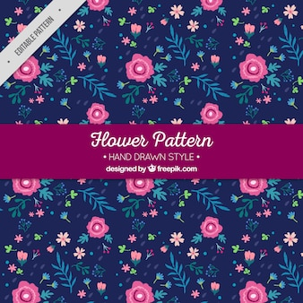 Dark blue floral pattern with hand-drawn flowers