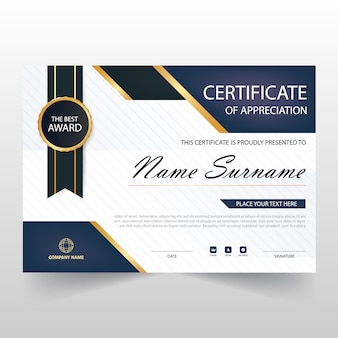 Dark blue horizontal certificate of appreciation