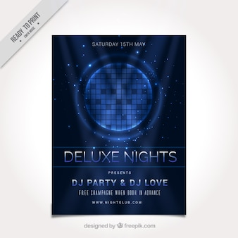 Dark blue party flyer with shiny shapes