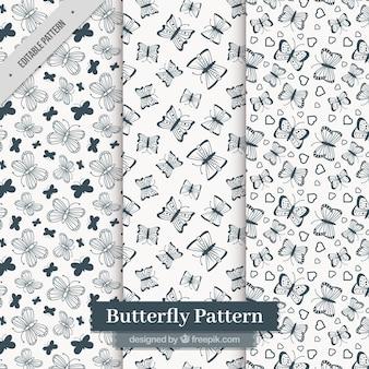 Dark blue patterns of butterflies