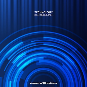 Dark blue technology background with circular forms