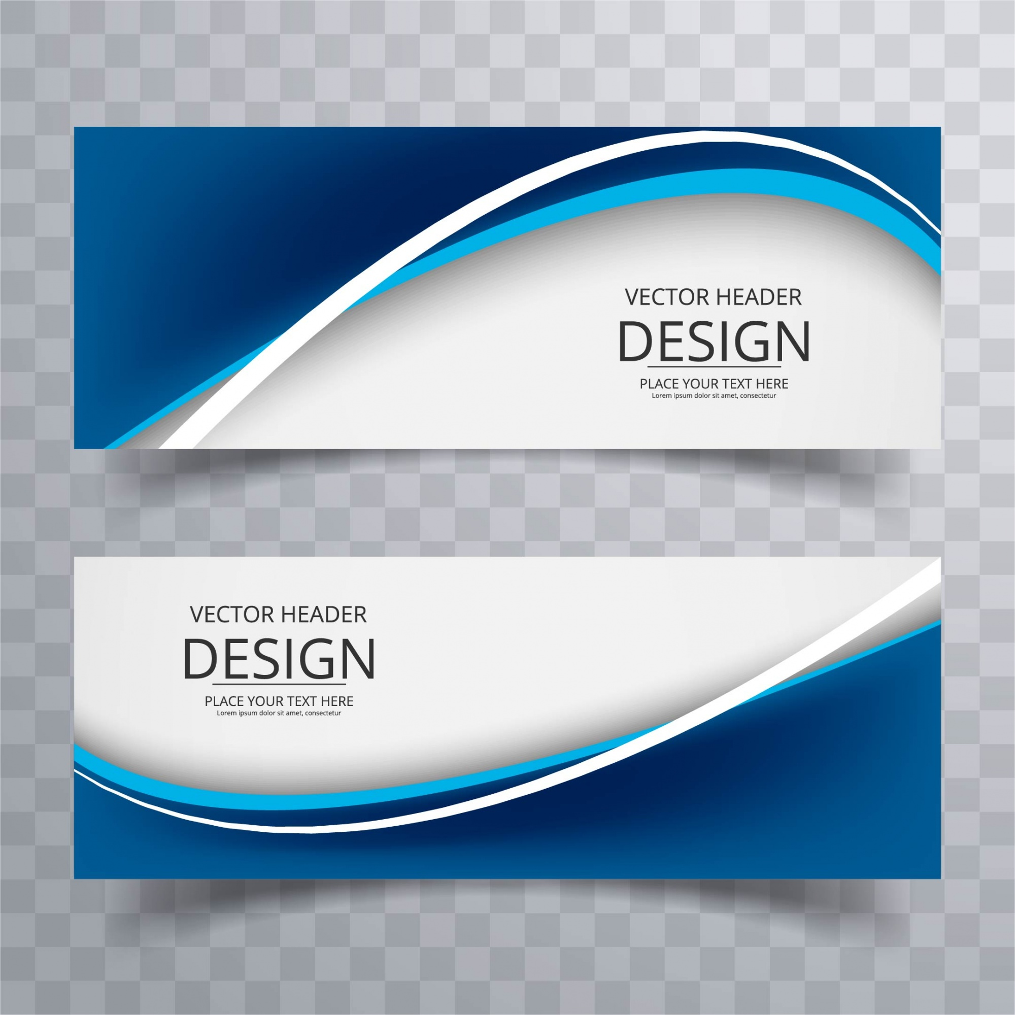 Dark blue wavy banners