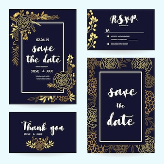 Dark blue wedding card collection with golden details