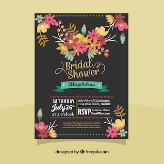 Dark bridal shower invitation with colored flowers