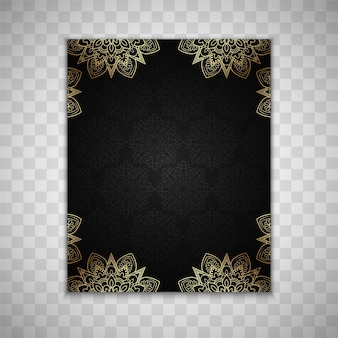 Dark brochure template with luxury floral elements