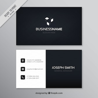 Dark business card in flat design