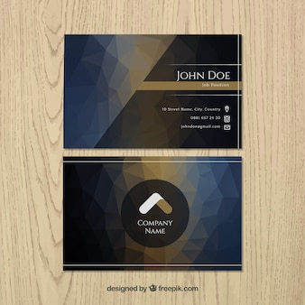 Dark business card in polygonal style
