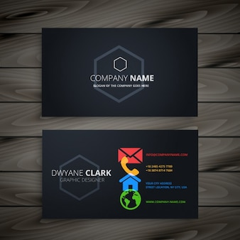 dark business card with colorful icons