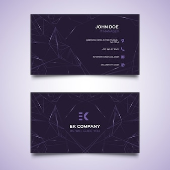 Dark business card with polygonal lines