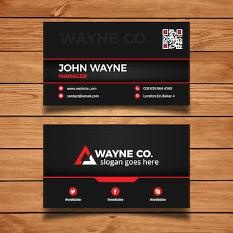 Dark business card with red elements