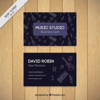 Dark card of music studio with drawings
