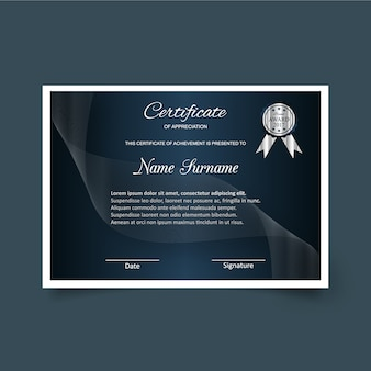 Dark certificate of appreciation template
