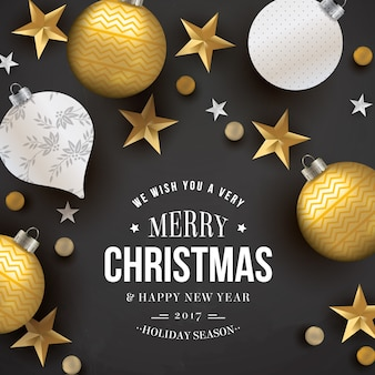 Dark christmas card with golden stars and baubles