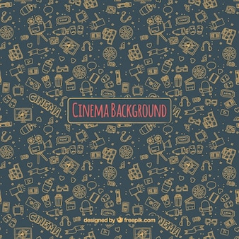 Dark cinema background with hand-drawn elements