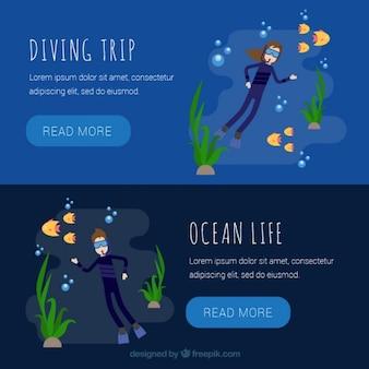 Dark diving banners set
