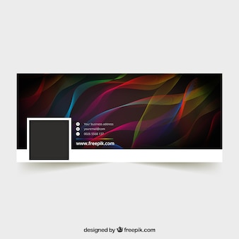 Dark facebook cover with colorful waves