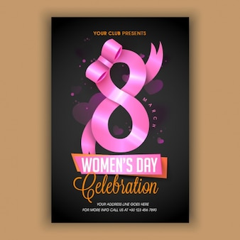 Dark flyer template with pink ribbon for women's day