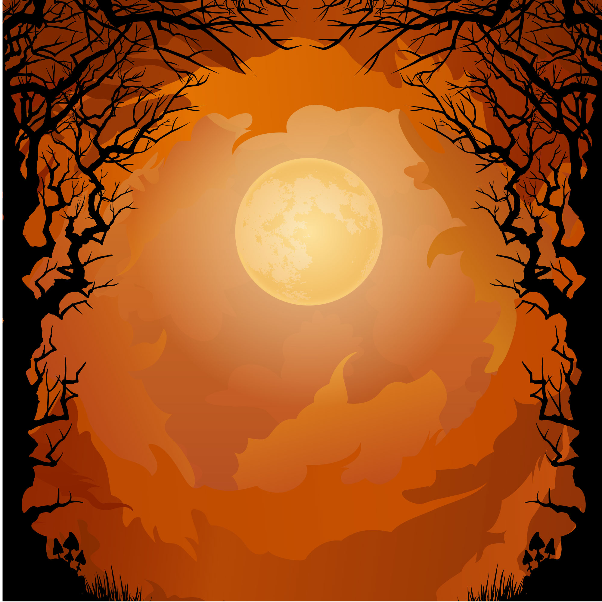 Dark forest with orange background