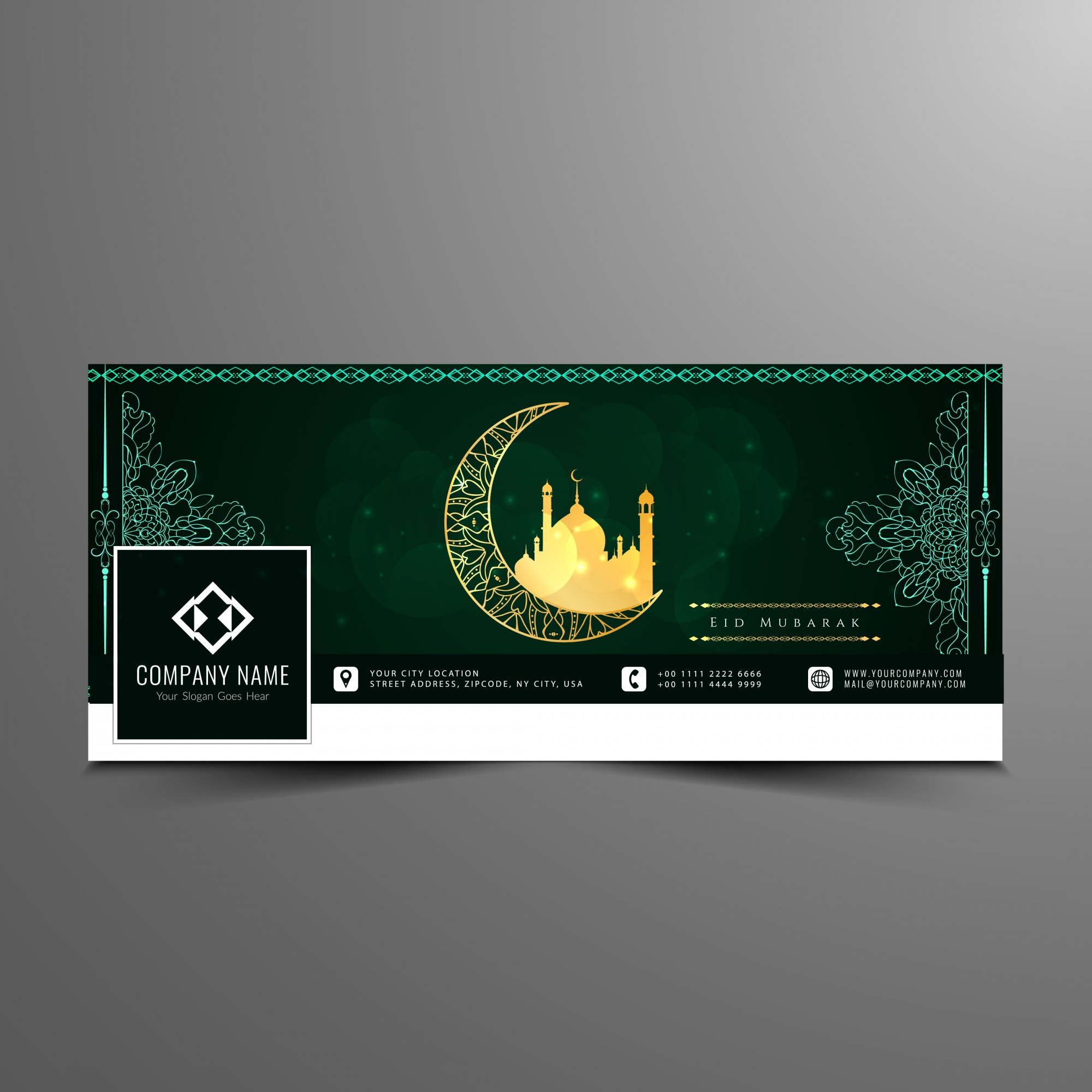 Dark green eid mubarak design for facebook timeline