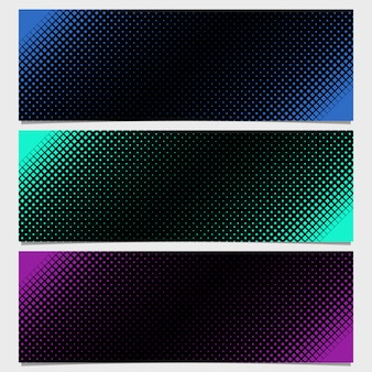 Dark halftone banners collection