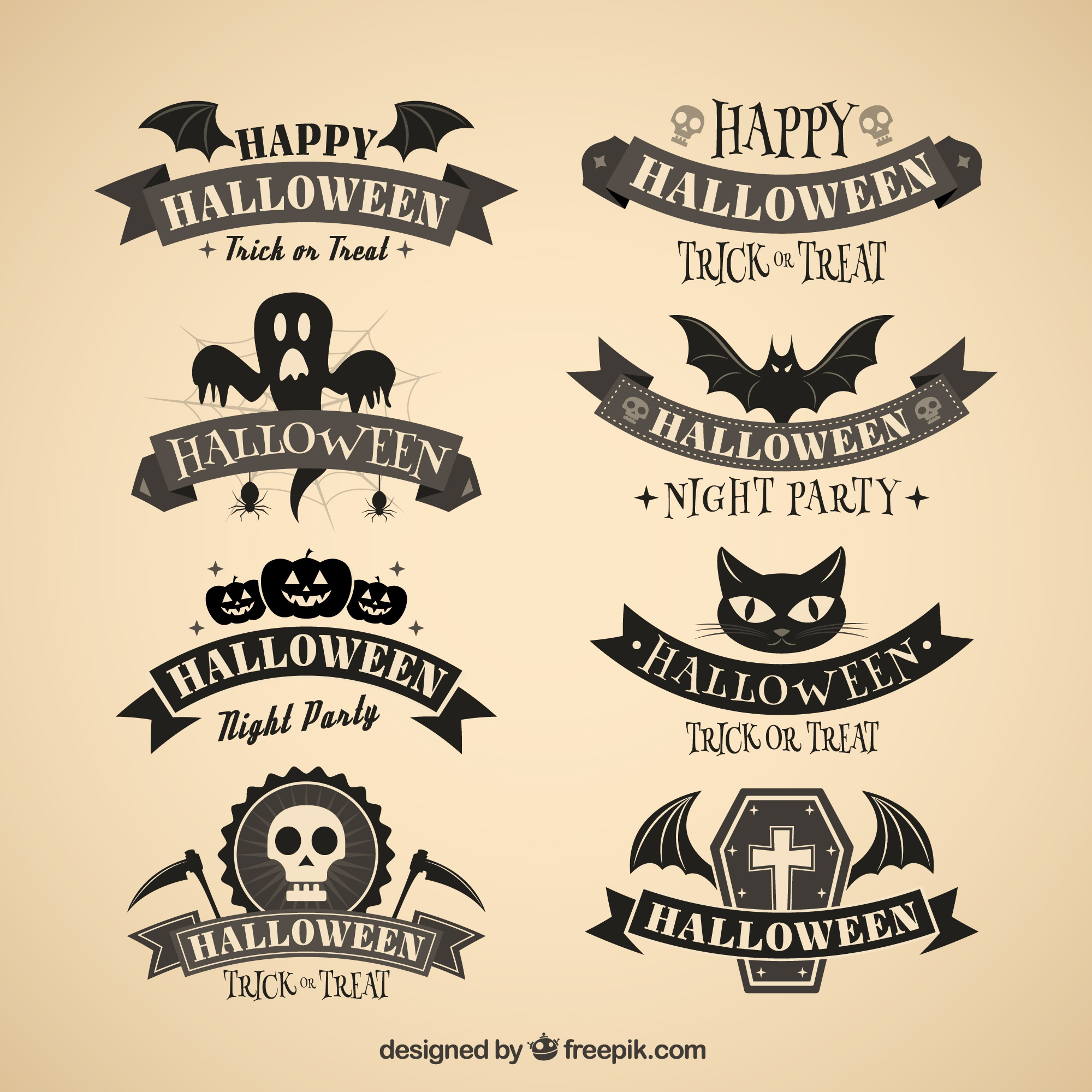 Dark halloween badges