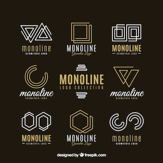 Dark monoline logo pack