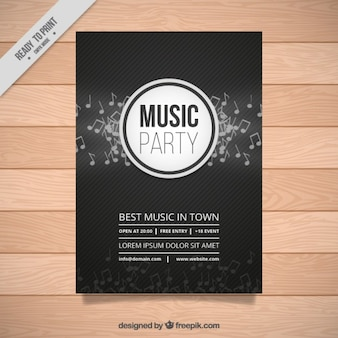 Dark music party poster with musical notes and lines