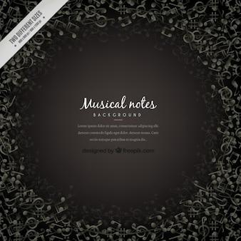 Dark musical notes background
