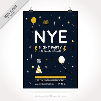 Dark new year party poster with striped background