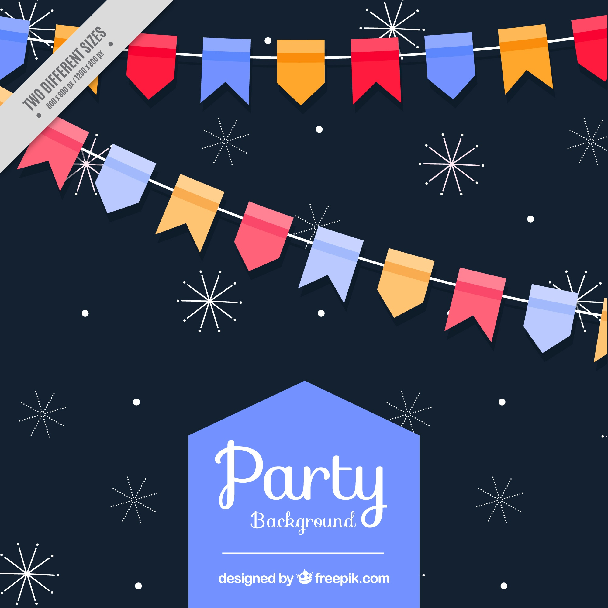Dark party background with stars and garlands