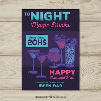 Dark party brochure with hand drawn drinks