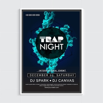 Dark party poster with blue abstract shape